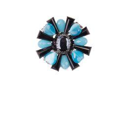 Брошь «Ослепительные звезды» (голубой, черный)