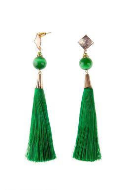 Серьги-кисти «Шелест шелка» (зеленый)