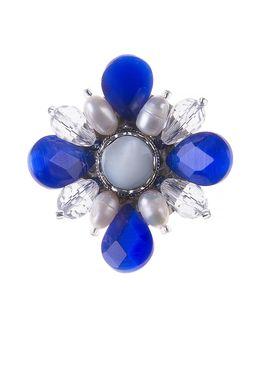 Брошь «Ослепительные звезды» (синий, белый)