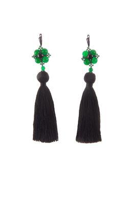 Серьги-кисти «Шелест шелка» (черный, зеленый)