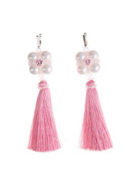 Серьги-кисти «Шелест шелка» (розовый, белый)
