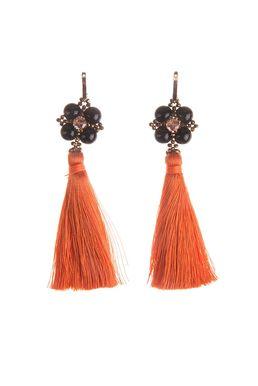 Серьги «Шелест шелка» (черный, оранжевый)