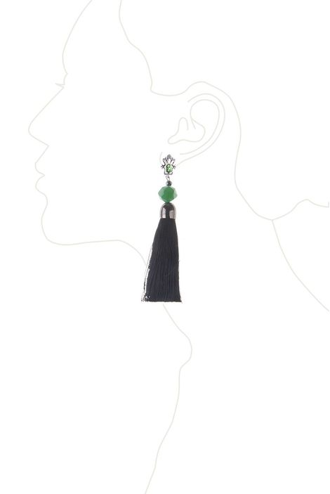 Серьги-кисти «Шелест шелка» (черный, изумрудный)
