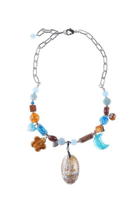 Колье «Янтарные моря» (губч.коралл, авантюрин, дерево, худож.стекло)