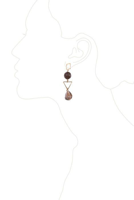 Серьги «Мегаполис» (коричневый, золотой)