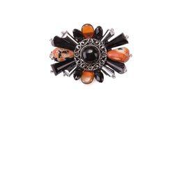 Брошь «Ослепительные звезды» (черный, оранжевый)