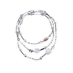 Бусы «Серебро на мраморе»
