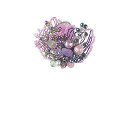 Брошь «Прекрасная Дама» (розовый, сиреневый, зеленый)