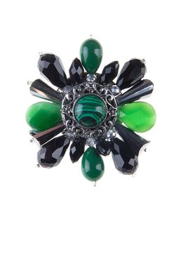 Брошь «Ослепительные звезды» (черный, зеленый)