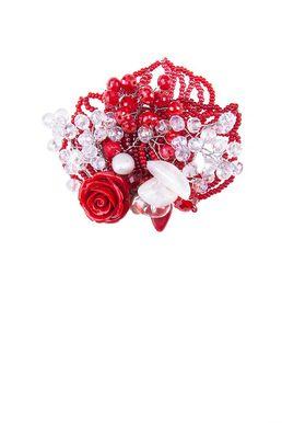 Брошь «Прекрасная Дама» (красный, белый)