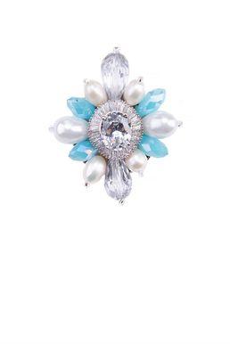 Брошь «Ослепительные звезды» (белый, голубой, серебряный)