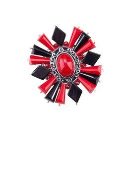 Брошь «Ослепительные звезды» (красный, черный)