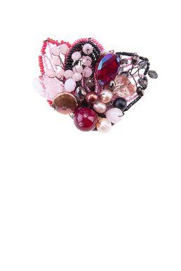 Брошь «Прекрасная Дама» (розовый, черный, малиновый)
