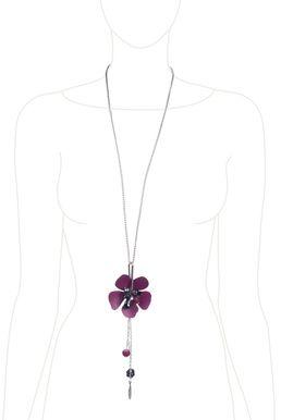 Колье «Цветы мегаполиса» (бордовый, черный, серебряный)