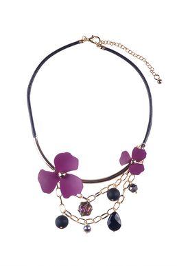 Колье «Цветы мегаполиса» (пурпурный, черный, золотой)