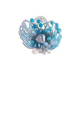 Брошь «Прекрасная Дама» (бирюзовый, голубой, белый)