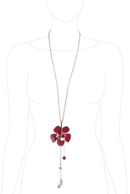 Колье «Цветы мегаполиса» (красный, белый, золотой)