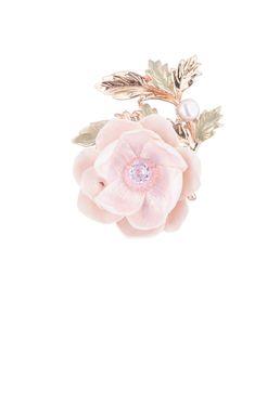 Брошь- кулон «Волшебный сад Феи» (розовый светлый, зеленый, золотой)