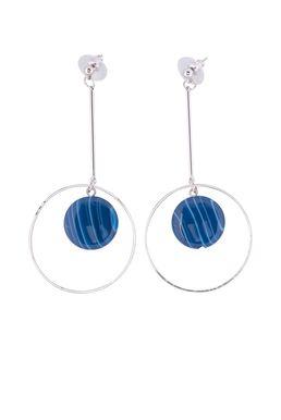 Серьги «Мегаполис» (синий, серебряный)