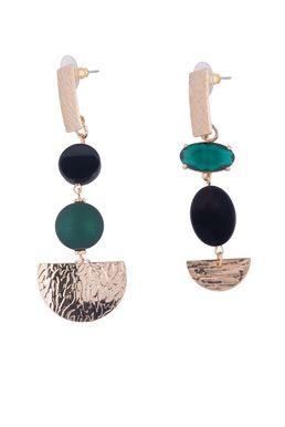 Серьги «Разноцветные тайны» (зеленый, черный. золотой)