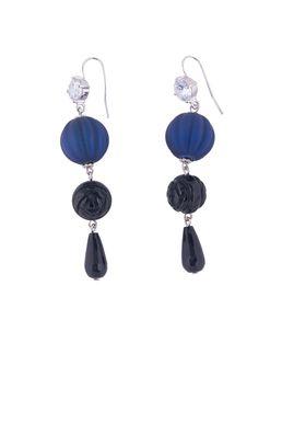 Серьги «Бархатный бал» (синий, черный)