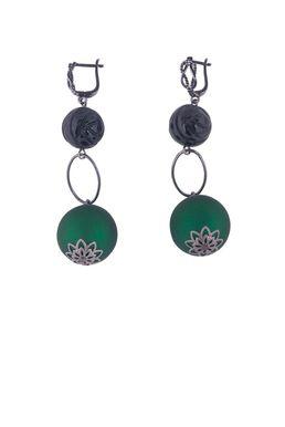 Серьги «Бархатный бал» (зеленый, черный)