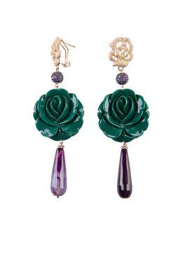 Серьги «Во имя Розы» (зеленый, фиолетовый)