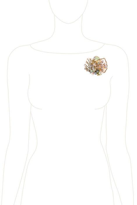 Брошь «Прекрасная Дама» (салатовый, бежевый, белый)
