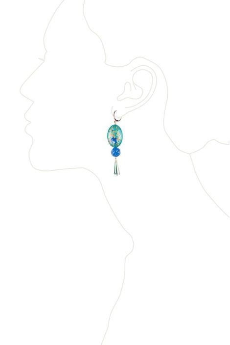 Серьги «Русские узоры» (зеленый, голубой)
